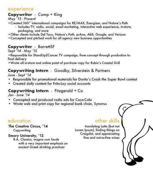 copywriting resume